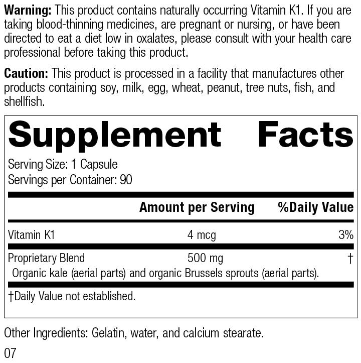 Cruciferous Complete™, 90 Capsules, Rev 07 Supplement Facts