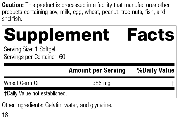8225 Wheat Germ Oil R16 Supplement Facts