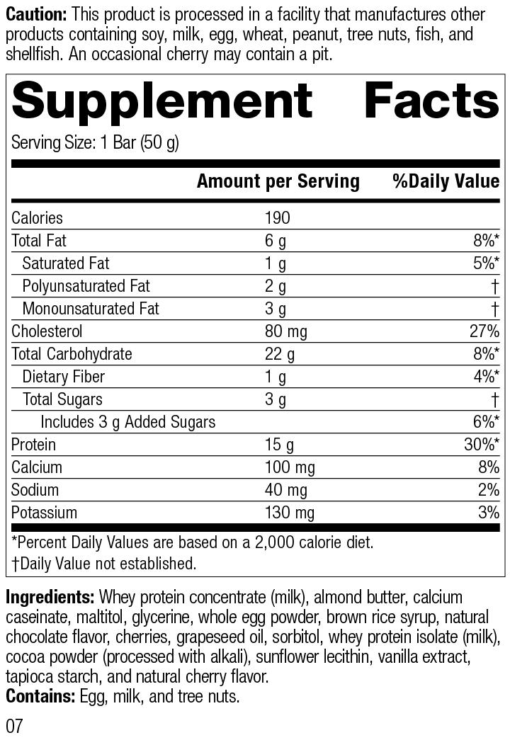 StandardBar®-Cocoa Cherry, Rev 07 Supplement Facts