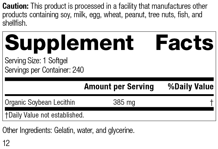 Soybean Lecithin, 240 Softgels, Rev 12 Supplement Facts
