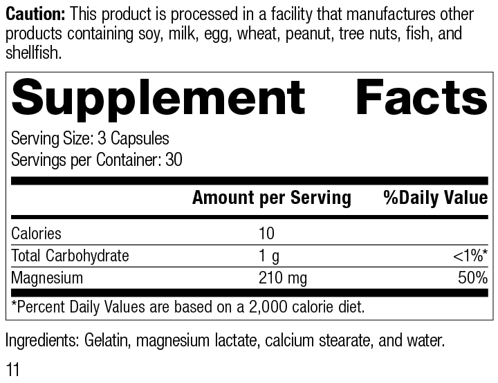 Nutrition Label for Magnesium Lactate