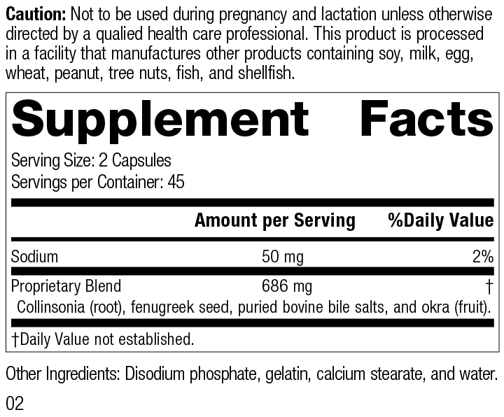 Nutrition Label for Fen-Cho®