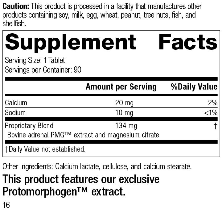 Nutrition Label for Drenatrophin PMG®