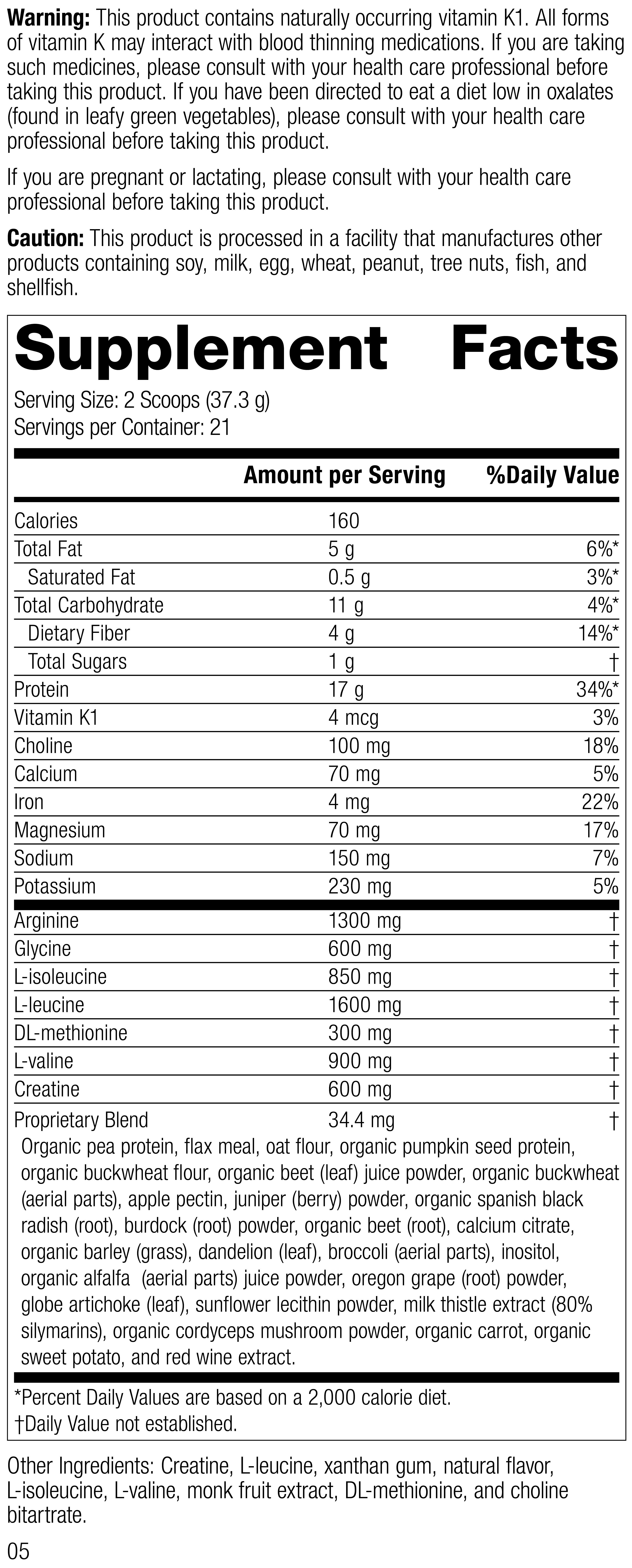 SP Detox Balance Chai, Rev 05 Supplement Facts