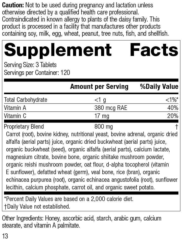 Nutrition Label for Cataplex® A-C-P