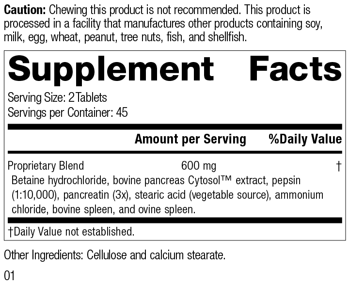 Zypan®, 90 Tablets, Rev 01 Supplement Facts