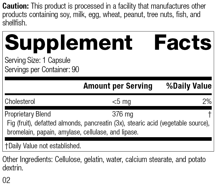 5685 Multizyme R02 Supplement Facts