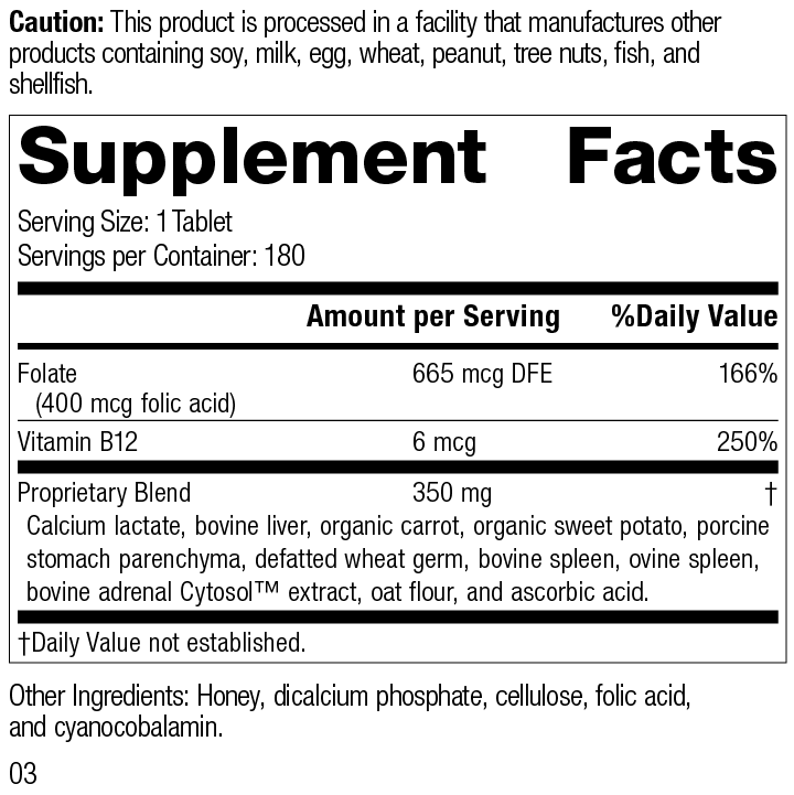 Folic Acid B12, 180 Tablets, Supplement Facts