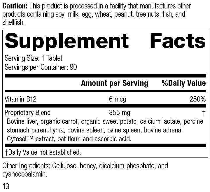 Cataplex® B12, 90 Tablets, Rev 13 Supplement Facts