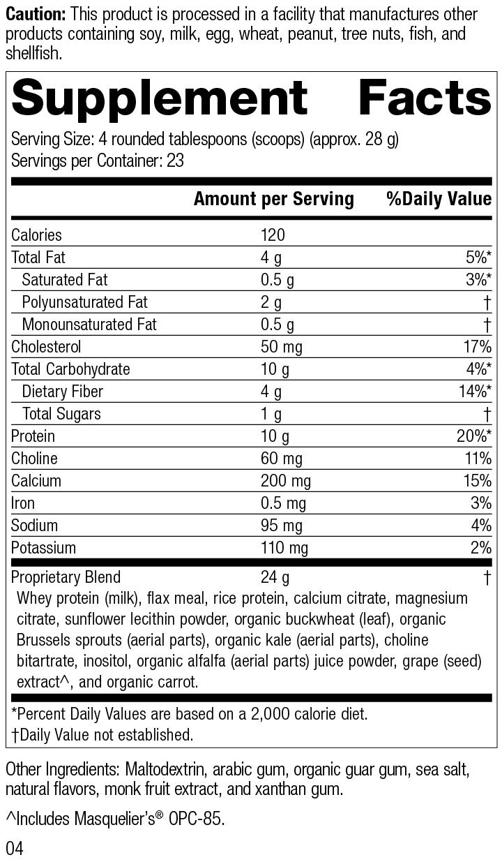 Nutrition Label for SP Complete® Vanilla
