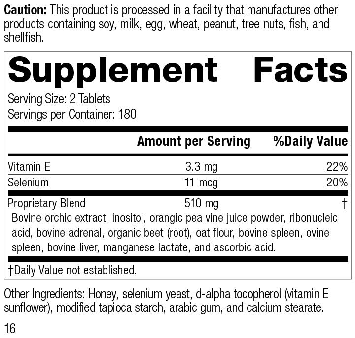 Cataplex® E, 360 Tablets, Rev 16 Supplement Facts