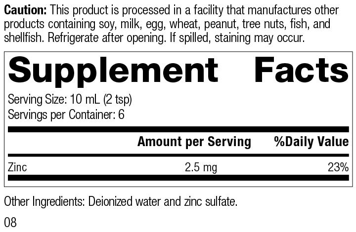 Nutrition Label for Zinc Test™