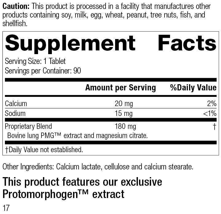 Pneumotrophin PMG®, Rev 16 Supplement Facts