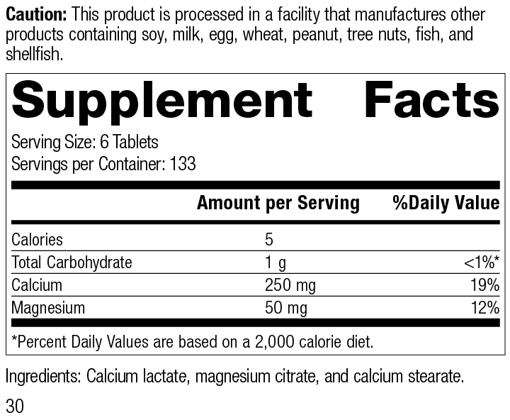 Nutrition Label for Calcium Lactate