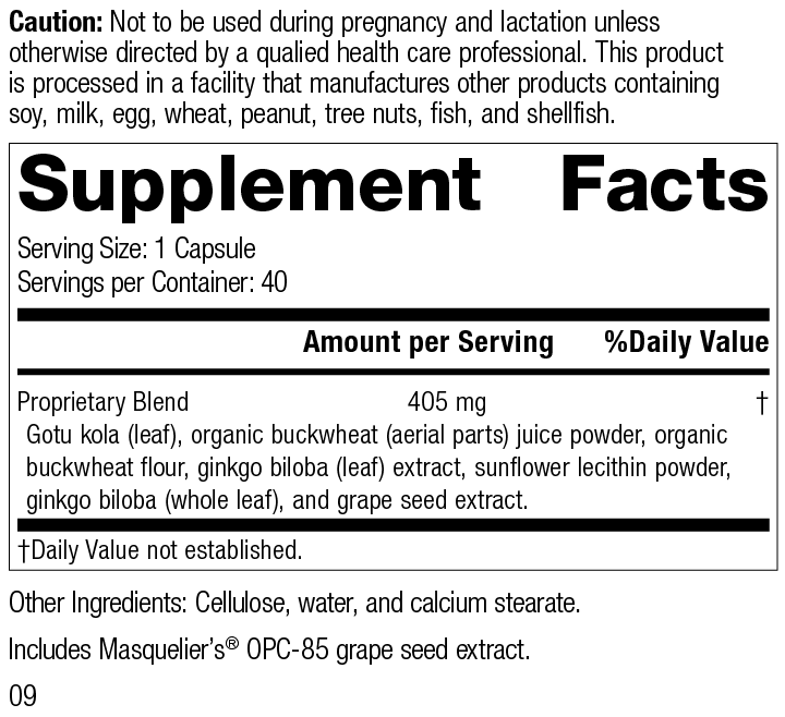 Nutrition Label for Ginkgo Synergy®