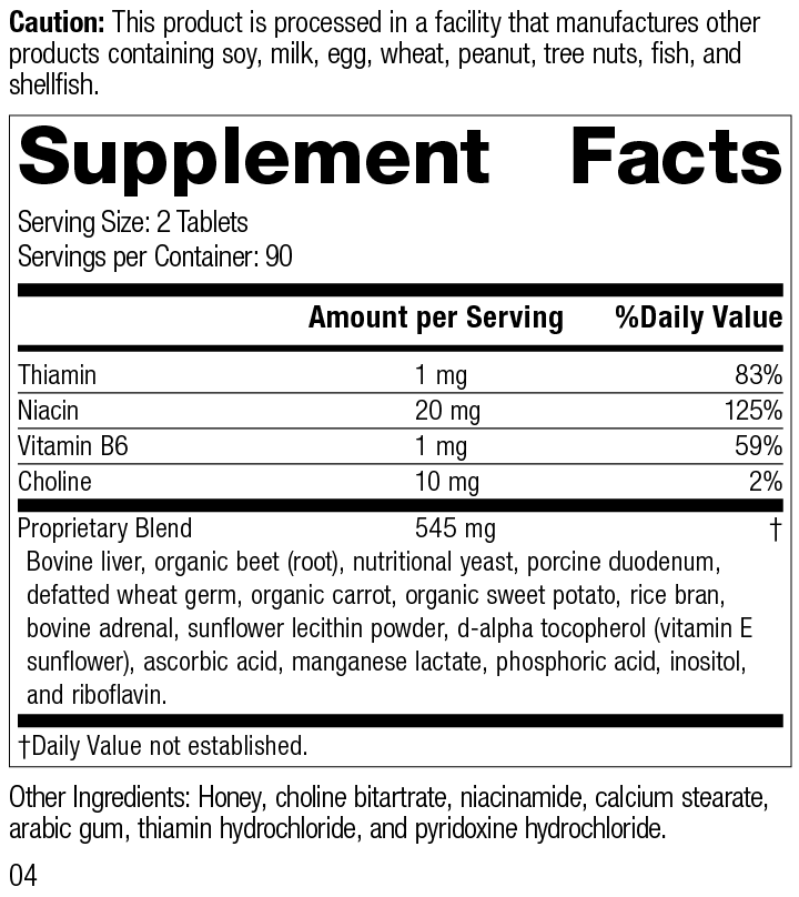 Cataplex® B, 180 Tablets, Rev 04 Supplement Facts Supplement Facts
