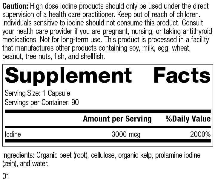 Prolamine Iodine Plus, 90 Tablets, Rev 01 Supplement Facts
