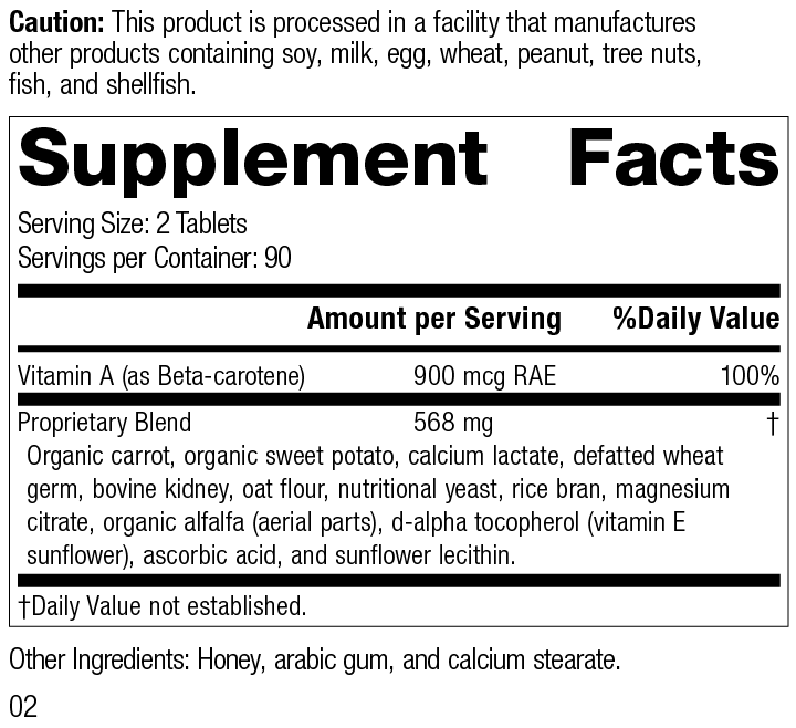 Nutrition Label for Cataplex® A