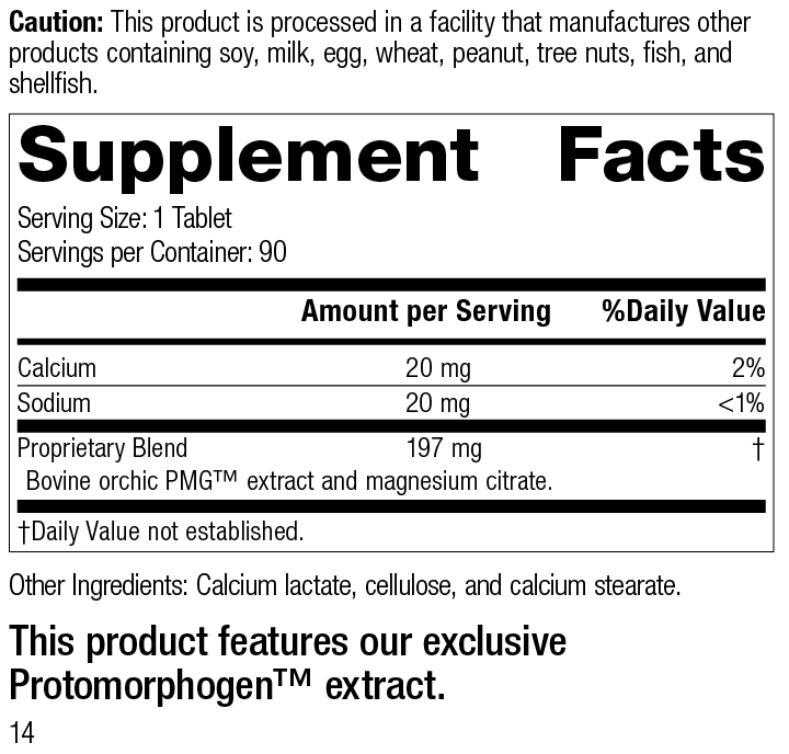 Orchic PMG®, 90 Tablets, Rev 14 Supplement Facts