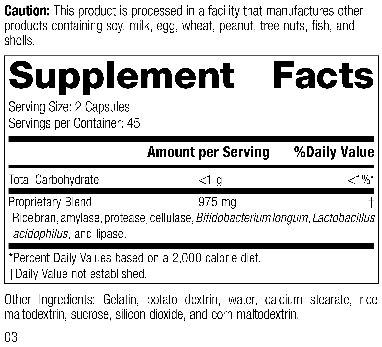 Lact-ENZ 5130 Rev 03 Supplement Facts