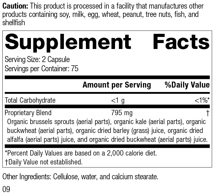 Nutrition Label for SP Green Food®