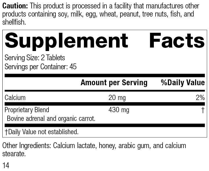 Adrenal Desiccated, 90 tablets, Rev 14, Supplement Facts