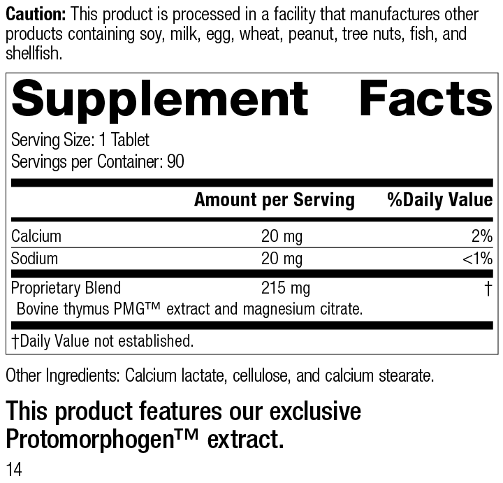 Nutrition Label for Thymus PMG®