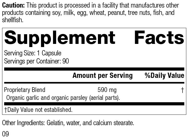 Garlic, 90 Capsules, Rev 09 Supplement Facts