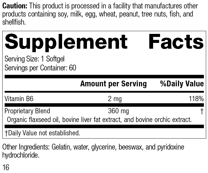 Nutrition Label for Cataplex® F Softgels