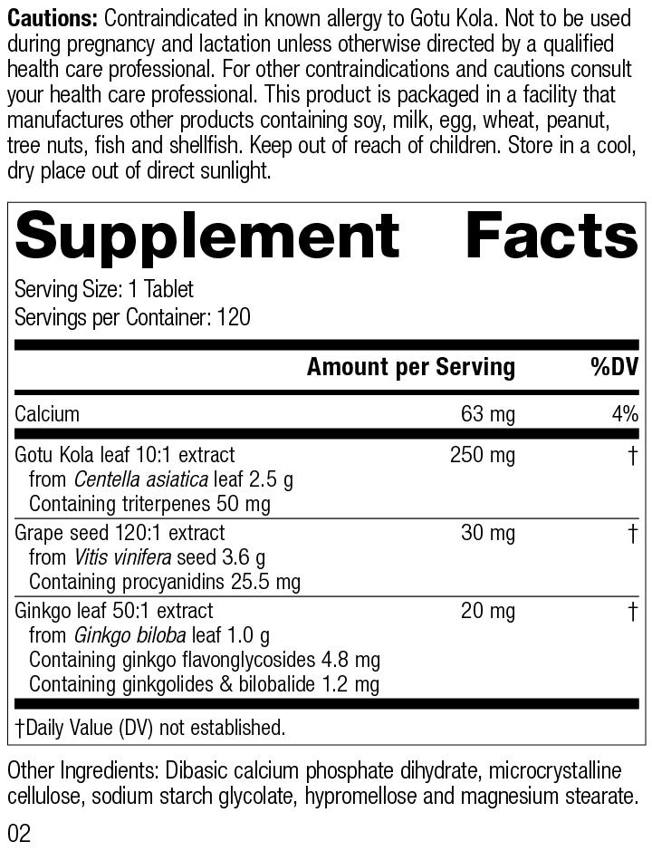 Gotu Kola Complex, 120 Tablets, Rev 02 Supplement Facts