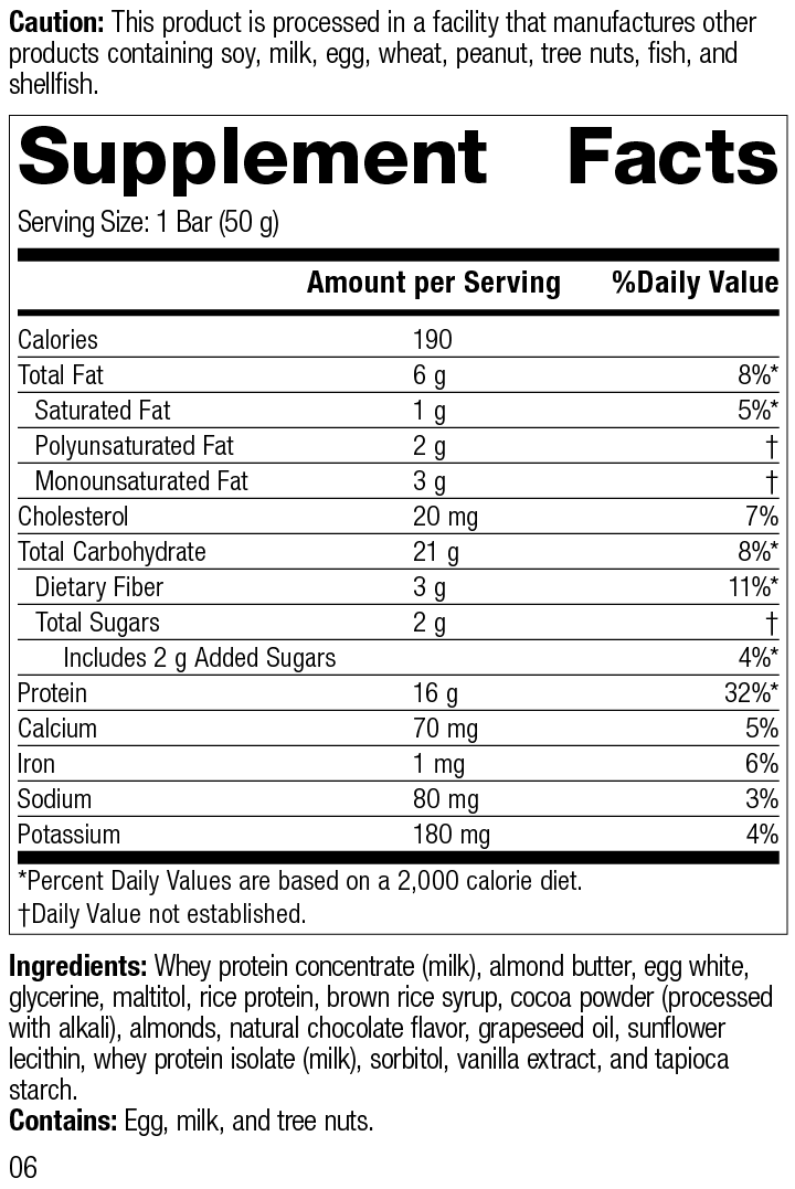 StandardBar®-Cocoa Crisp, Rev 06 Supplement Facts