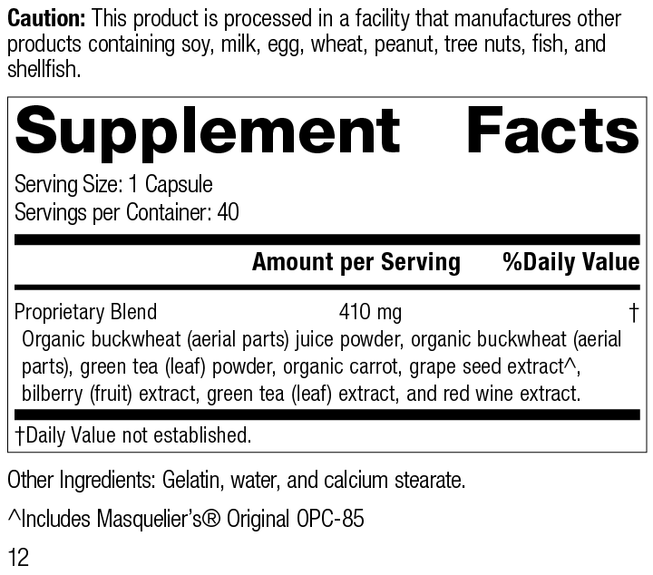 Nutrition Label for OPC Synergy®