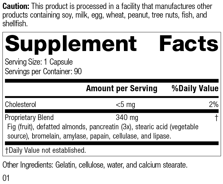 5685 Multizyme R01 Supplement Facts Supplement Facts