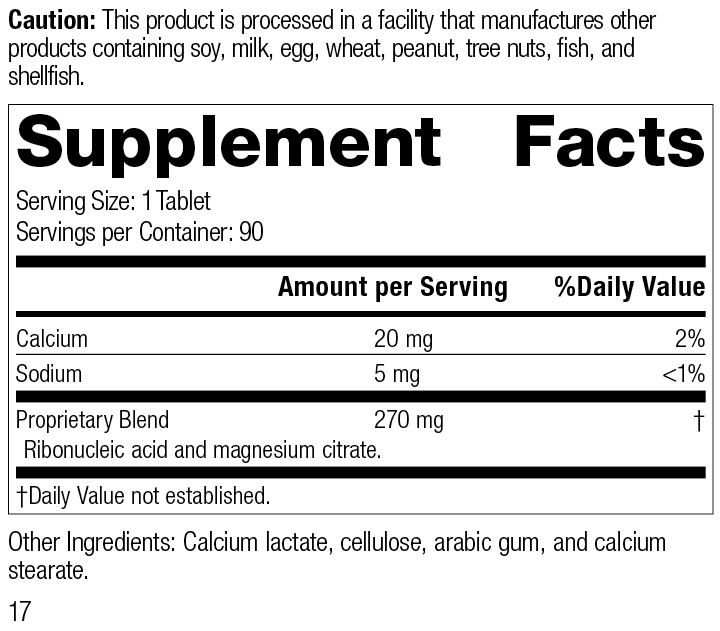 Ribonucleic Acid (RNA), 90 Tablets, Rev 17 Supplement Facts