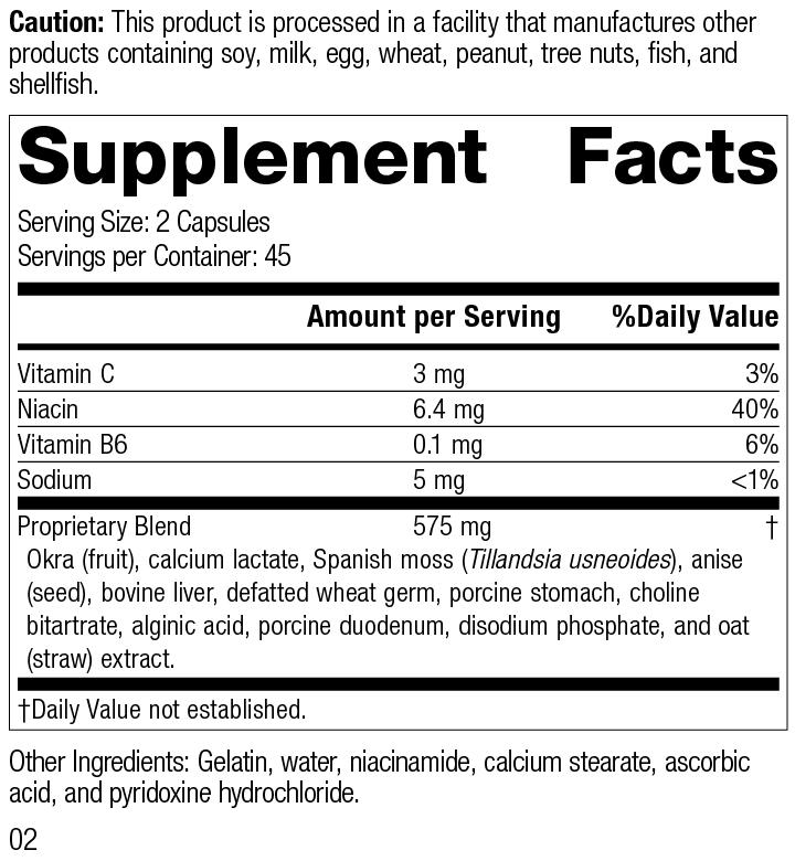 Nutrition Label for Gastrex®