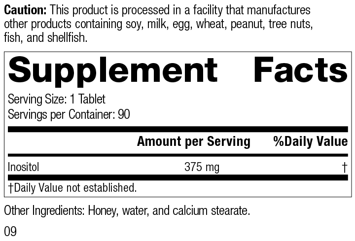 Nutrition Label for Inositol