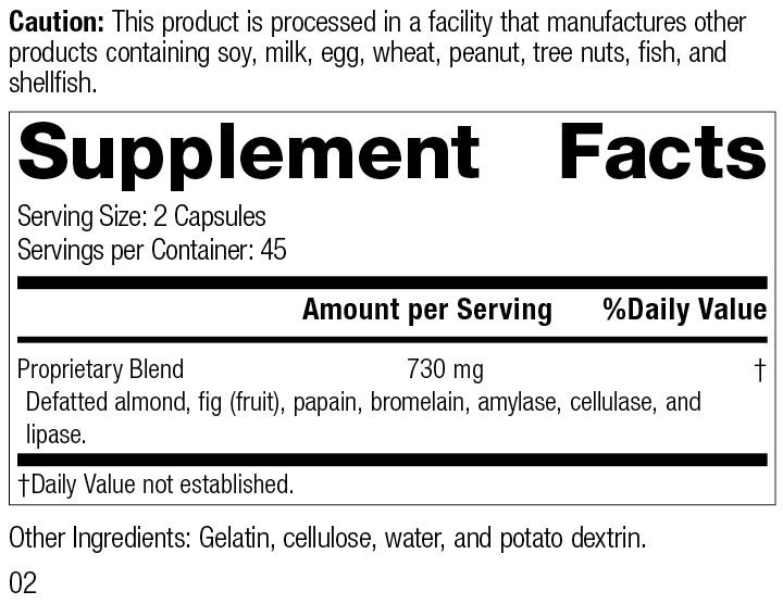 8443 Zymex-II R02 Supplement Facts