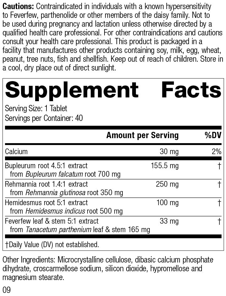 Nutrition Label for Rehmannia Complex