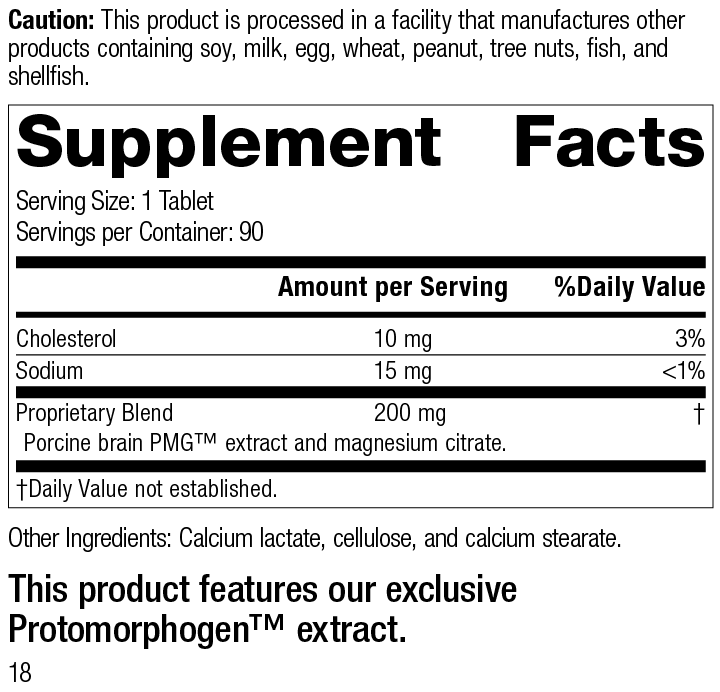 Nutrition Label for Neurotrophin PMG®