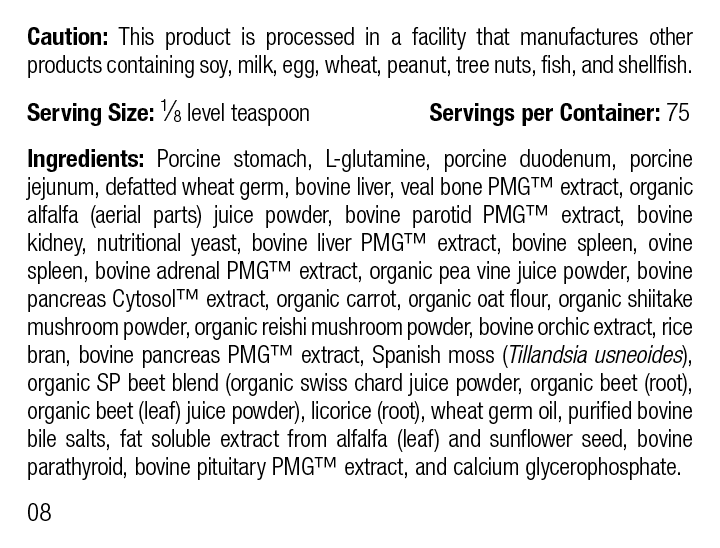 Canine Enteric Support, 30 g, Rev 08 Supplement Facts