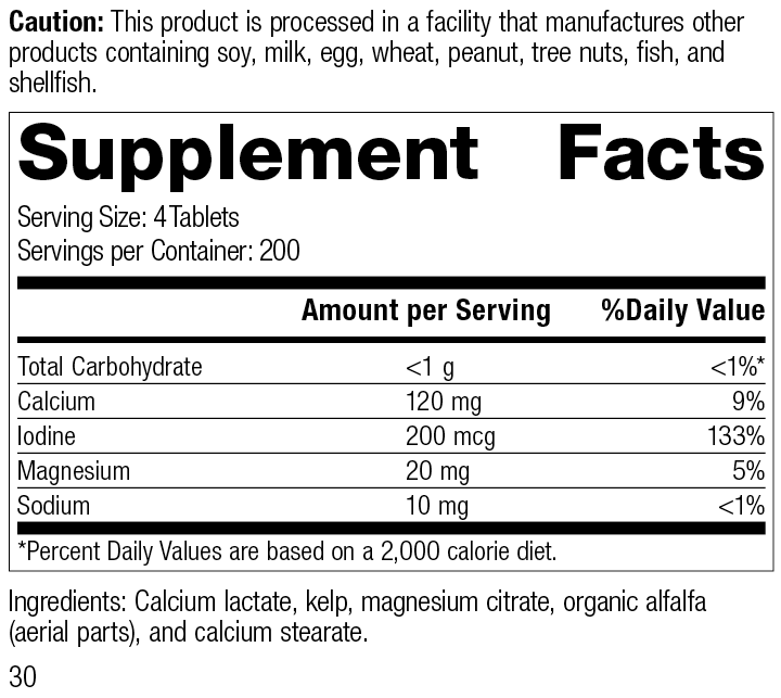 Min-Tran®, 800 Tablets, Rev 30 Supplement Facts
