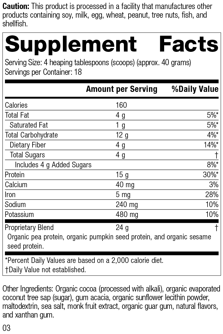 Nutrition Label for Veg-E Complete Pro™ Chocolate