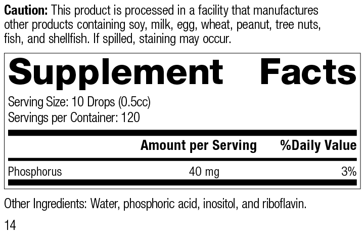 Nutrition Label for Phosfood® Liquid