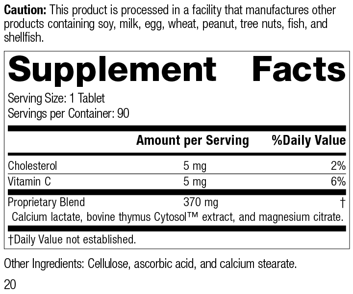 Thymex®, 90 Tablets, Product Label Supplement Facts