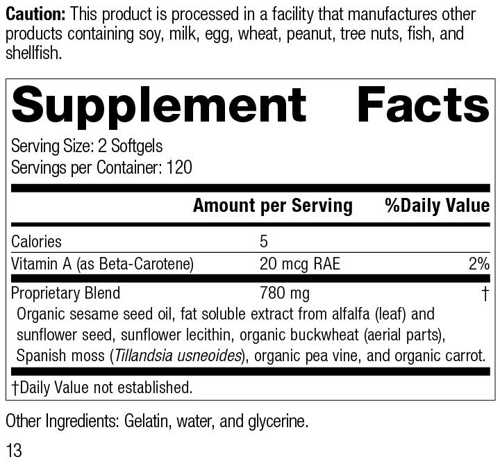 Nutrition Label for Chlorophyll Complex™