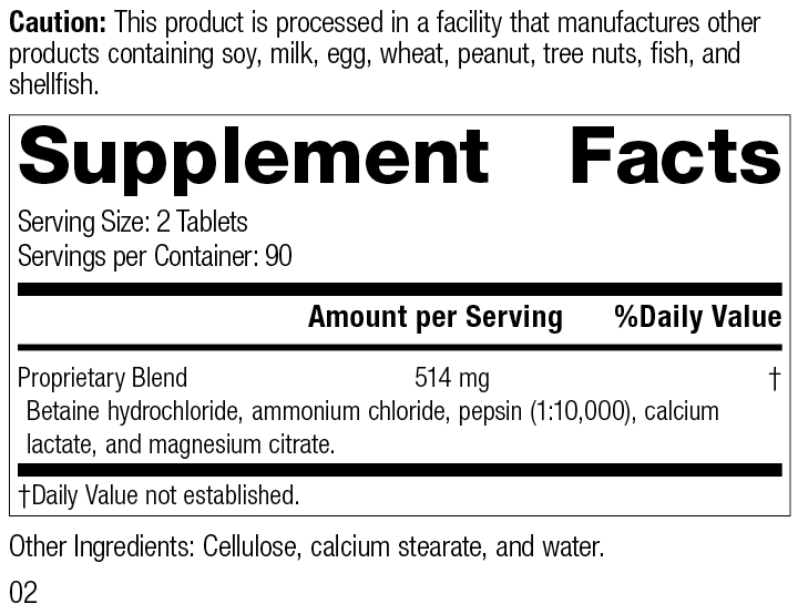 Betaine Hydrochloride, Rev 02 Supplement Facts