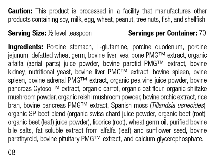 Canine Enteric Support, 110 g, Rev 08 Supplement Facts