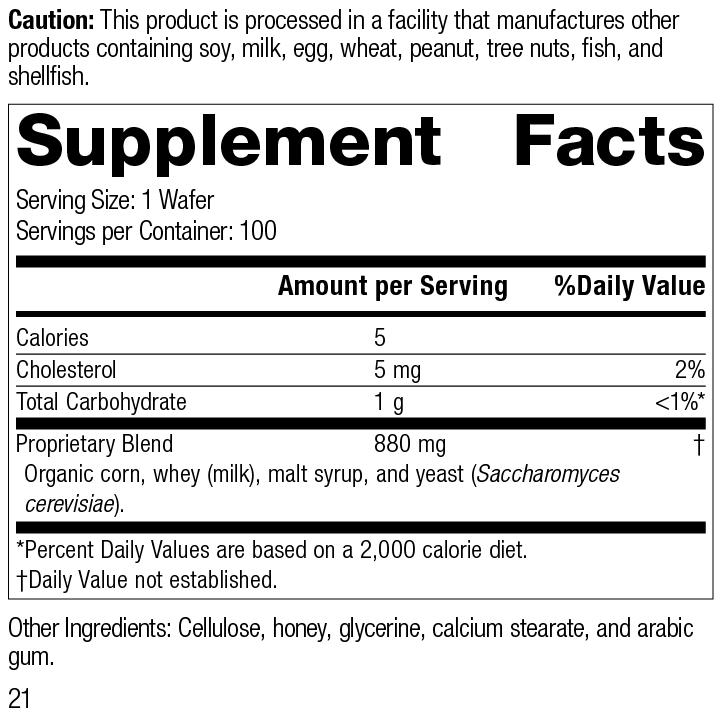 Lactic Acid Yeast™, 100 Wafers,