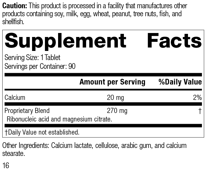Ribonucleic Acid (RNA), 90 Tablets, Rev 16 Supplement Facts
