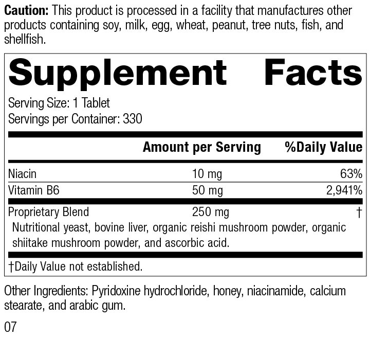 Nutrition Label for B6-Niacinamide